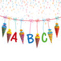 Colored Hanging Candy Cones Line ABC Letters Royalty Free Stock Photo