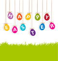 Colored hanging eggs easter card greeting Stock Images