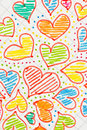 Colored hearts drawn on a sheet Royalty Free Stock Photos