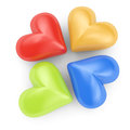 Colored hearts on white background d render Stock Image