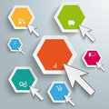 Colored hexagons mouse clicks infographic white circles with cursors on the grey background Stock Photography