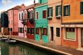 Colored houses of burano island and canals in laguna nord venice Royalty Free Stock Image