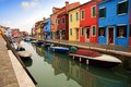 Colored houses of burano island and canals in laguna nord venice Royalty Free Stock Images