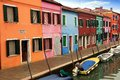 Colored houses of burano island and canals in laguna nord venice Stock Images