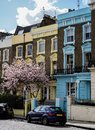 Colored houses in London street