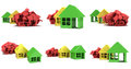 Colored houses in varying phases of destruction Royalty Free Stock Photo