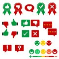 Colored illustration business set. thumb up and down, check mark, like, heart, plus flat icons set with shadow on paper circles. M