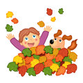 Colored illustration child dog play leaves Royalty Free Stock Image