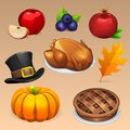 Thanksgiving Day food icons set