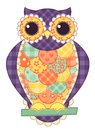 Colored isolated patchwork owl quilt illustration Royalty Free Stock Image