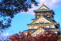 Colored japanese maple leaf osaca castle for adv or others purpose use Stock Photo