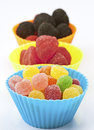 Colored jelly beans cups Royalty Free Stock Photos