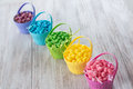 Colored jelly beans for easter lined up in a row Royalty Free Stock Photo