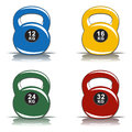 Colored kettlebells girya of various weights with reflection on white background Stock Photos