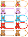 Colored labels with colorful teddies Stock Image