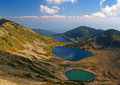 Colored lakes in mountains three of bulgaria Royalty Free Stock Photography