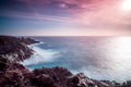 Colored landscape with ocean and rocks in Tenerife Royalty Free Stock Photo