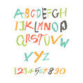 Colored Latin alphabet, written by a child, children is style, can be used for your design