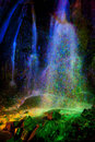 Colored Light Painted Waterfall Royalty Free Stock Photo