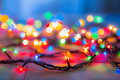 Colored lights Christmas garlands. Colorful abstract background Royalty Free Stock Photo