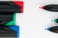 Colored liners background red green and blue and lids on white Royalty Free Stock Image