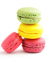 Colored macaron over white background Royalty Free Stock Photos