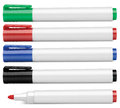 Colored markers isolated on white Stock Photos