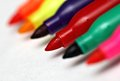 Colored markers a series of on a white background Royalty Free Stock Images