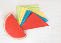Colored napkins and funny holder Stock Image