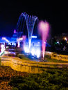 Colored night fountains in bucharest happy birthday beautiful capital Royalty Free Stock Photo
