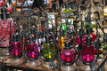 Colored oil lamps Stock Photos