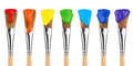 Colored paint brushes Royalty Free Stock Photo