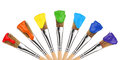 Colored paint brushes Stock Photo