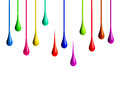 Colored paint drips on white background Royalty Free Stock Photo