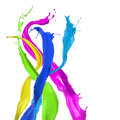 Colored paint splashes Stock Image