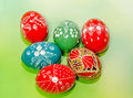 Colored painted romanian traditional Easter eggs, close up, gradient background Royalty Free Stock Photo