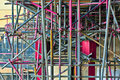 Colored painted scaffolding
