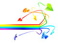 Colored paper airplanes and rainbow Royalty Free Stock Photos