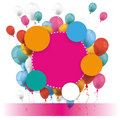 Colored Paper Circles Balloons Banner