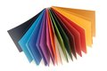 Colored paper papers is in a fan shape Stock Photo