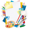 Colored paper and pens Royalty Free Stock Photography