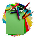 Colored papers and markers Stock Images