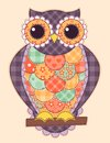 Colored patchwork owl quilt illustration Stock Photos