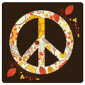 Colored peace symbol a white with flowers and hearts inside it Stock Photography