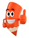 Colored pencil mascot d render of giving thumbs up Royalty Free Stock Photo