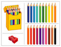 Colored Pencil Set Stock Images