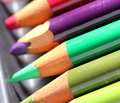 Colored pencils arranged in complementary colors Stock Image