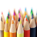 Colored pencils assortment of coloured isolated Stock Photography