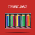 Colored pencils in box on red background vector Royalty Free Stock Photo