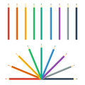 Colored pencils bright colorful set vector illustration trendy flat style Royalty Free Stock Images